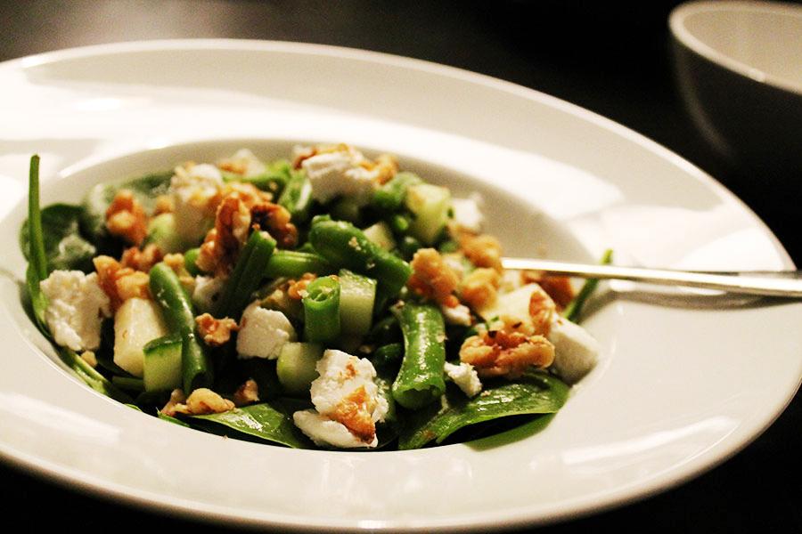 Spinazie,-boontjes-salade