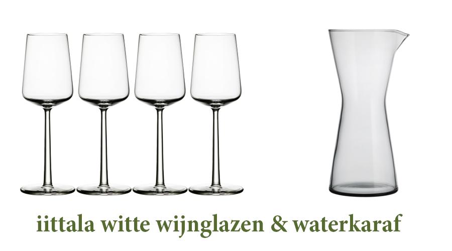 iittala witte wijnglazen en waterkaraf, fonQ