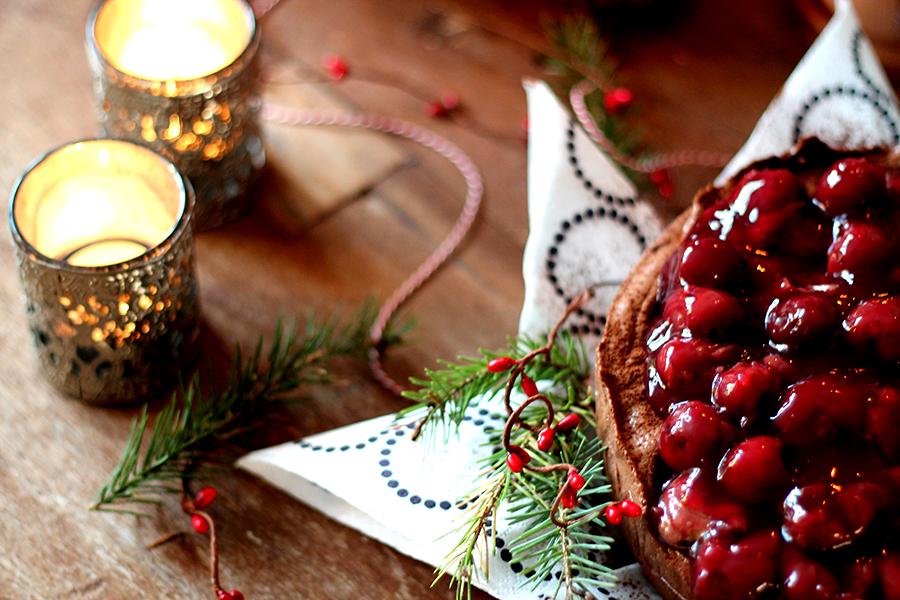 chocoladetruffeltaart, kerstdessert, kersttoetje