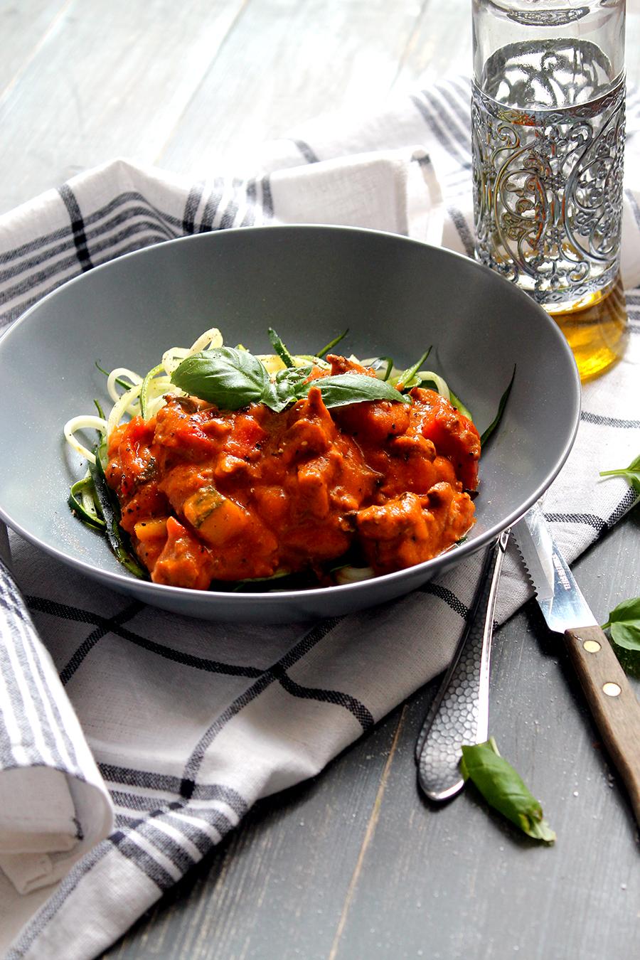 Courgettini met home made pastasaus, zelf pastasaus maken