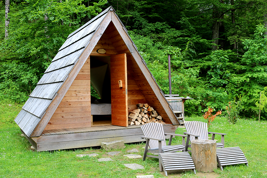 Glamping in Slovenie, camping bled, Glamping hutten op camping Bled