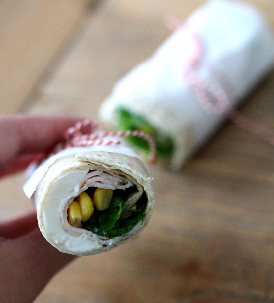 Lunch om mee te nemen: Kip wraps met mais