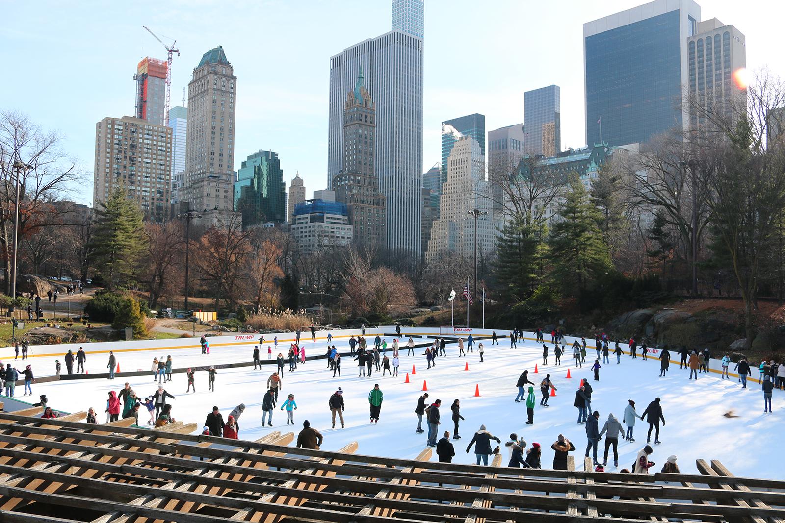 New York in december: schaatsbaan Central park