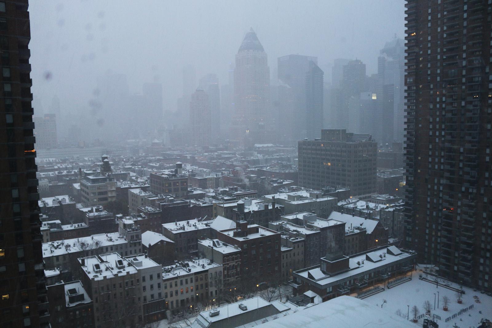 New York in december: sneeuw