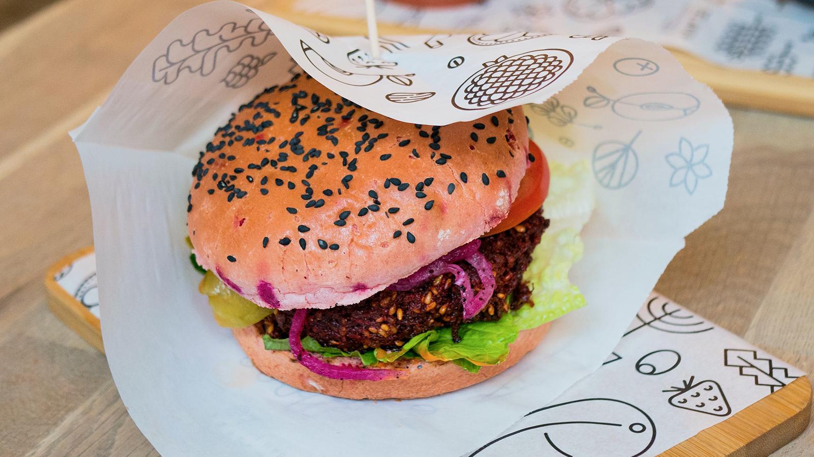 Burger eten in Poznan